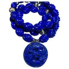 Captivating 14k Natural Carved Lapis Bead Necklace & Dragon Pendant