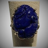 Large 14k Carved Natural Blue Lapis Dragon Foo Dog Ring