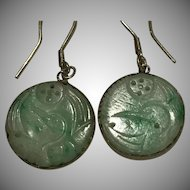 Natural Carved Jade Crane Adornment Earrings