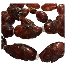 Carved Amber 18 Arharts Buddhist Prayer Beads Necklace