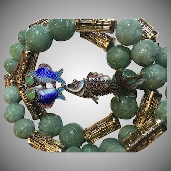 Chinese Export Carved Jade Shou Longevity Necklace Enamel Fish