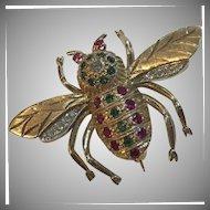 Large 1.25 Carats 14k Art Deco Diamond Emerald & Ruby Bee Brooch