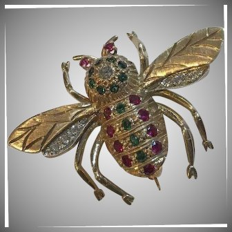 Large 14k Art Deco Diamond Emerald & Ruby Bee Brooch