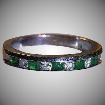 Quality 14k White Gold Diamond & Emerald Ring