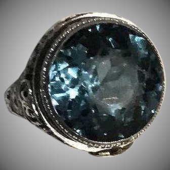 Art Deco 8.5 Carat Spinel 14k Ring White Gold Filigree Setting