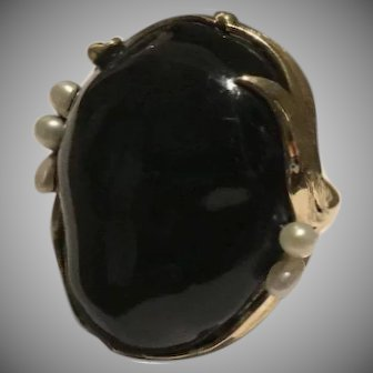 Massive 14k Natural Black Coral Pearl Ring