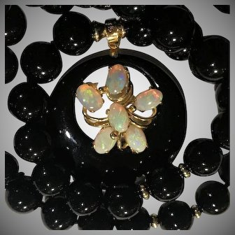 14k Opal  Black Onyx Pendant Necklace