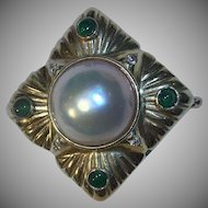 Large 14k Enhancer Mabe Pearl Diamond & Green Tourmaline Pendant