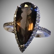 14k Diamond Halo Smoky Chocolate Quartz Ring