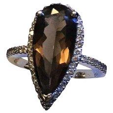 14k Diamond Halo Smoky Chocolate Quartz Ring