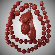 RARE Red Momo Coral 14k Pendant Necklace