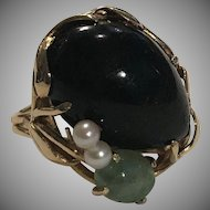 14k Black Coral Jade Pearl Ring