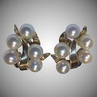 Estate 17.8 Grams 14k Pearl Earrings Signed