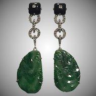 Breathtaking 14k Deco Natural Jade Diamond Onyx Drop Earrings