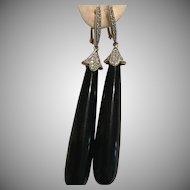 14k Black Onyx Diamond Drop Earrings