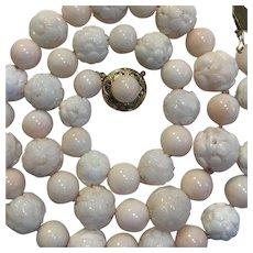 RESERVED FOR NAN -75 Gram 18k Carved Angel Skin Coral Necklace