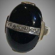 Deco Black Onyx Diamond Ring 10k