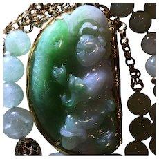 Huge 14k Carved Apple Green & Lavender Jade Pendant Necklace