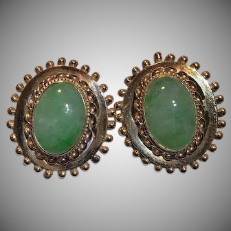 14k Large Custom Jade Earrings