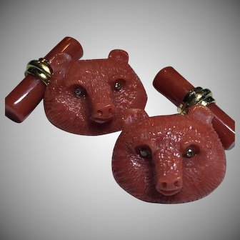 Rare 18k Diamond Carved Coral Cufflinks Deep Salmon