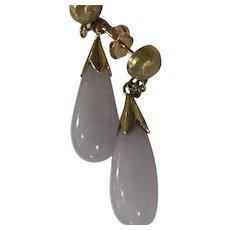 14k Natural Lavender Jadeite Jade Drop Earrings