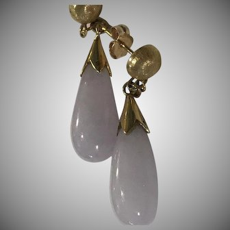 14k Natural Lavender Jadeite Jade Drop Earrings