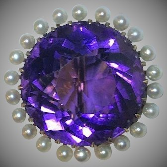 Captivating 21 Carat 14k Antique Amethyst & Pearl Brooch