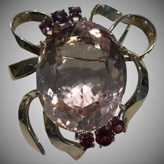 Massive 75 Carat Morganite 14k White Gold Brooch Pendant With Amethyst & Tourmaline
