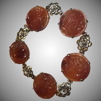 14k Art Deco Chinese Carved Carnelian Bracelet