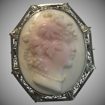 14k Antique Carved Coral Goddess Meditrina Cameo Brooch Pendant