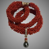 14k Estate Natural Red Coral Pearl Necklace