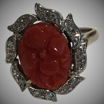 14k Deco Diamond Red Coral Ring
