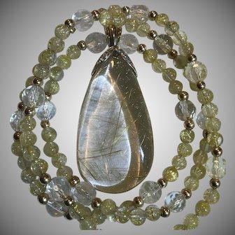 14k Diamond Rutilated Quartz Enhancer Pendant Necklace