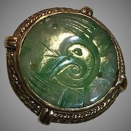 14k Jade Ring With Qing Dynasty Carved Adornment