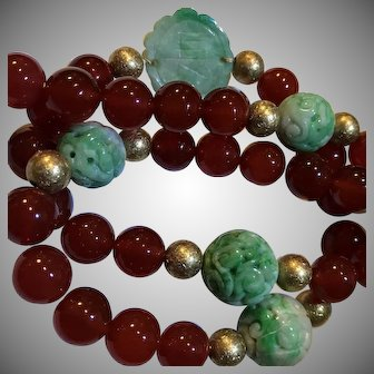 14k Carved Jade Necklace With Carnelian Beads