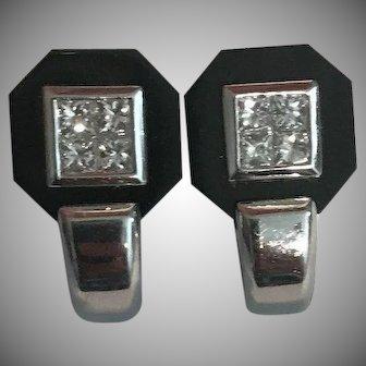 14k Elegant Diamond Black Onyx Earrings