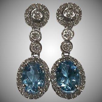 Gorgeous 14k Diamond Halo Blue Topaz Drop Earrings