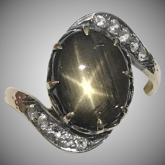 14k Antique 9 Carat Star Sapphire & Goshenite Ring