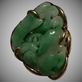 Custom Estate 14k Carved Jade Ring