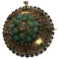 15k Antique Persian Turquoise Locket Pendant