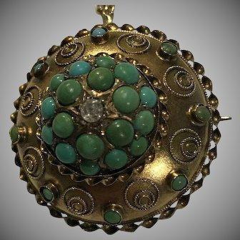 15k Antique Persian Turquoise Locket Pendant