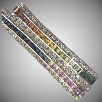 9 Carat 14k Sapphire & Diamond Bracelet