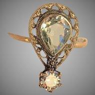 14k Large Diamond & 1 Carat Aquamarine Ring