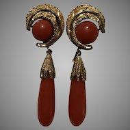18k Italian Red Coral Drop Earrings