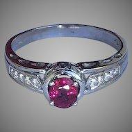 18k Ruby Diamond Halo Ring