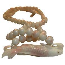 14k Carved Angel Skin Coral Fish Pendant Necklace