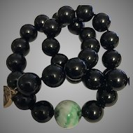 Large 14k Gump's Jadeite & Black Jade Necklace