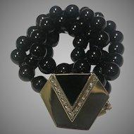 14k Deco Style Diamond Onyx Enhancer Pendant Necklace
