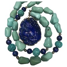 14k Natural Chinese Turquoise & Carved Lapis Pendant Necklace
