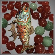 Old Chinese Enamel Articulated Koi Pendant Necklace Jade & Carnelian